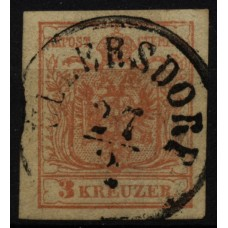 1850 3kr, MP, Type III. ULLERSDORF (M) Mü:25Punkte!