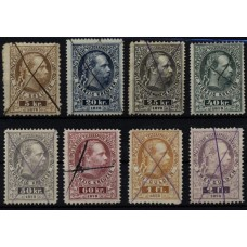 Austria 1874/75 TELEGRAPH stamps 10-17, set with PEN canc. used, Cv:600,-€