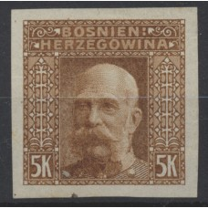 Austria Bosnia Military 1906 44, 5K, PROOF PRINT, IMPERF. No Gum! RARE!