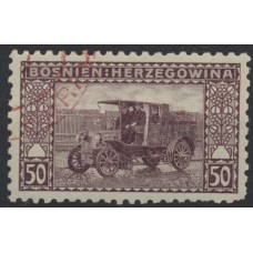Austria Bosnia Military 1906 41, 50H used stamp, Perf: 9 1/4, RED! Cancell.