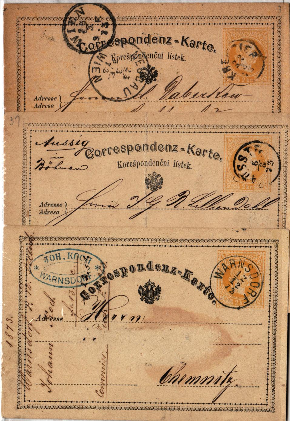 187. 3Korr-Karte, mit KREMSIER, AUSSIG und WARNSDORF Stempeln. - <span itemprop='availableAtOrFrom'>Eberau, Österreich</span> - 187. 3Korr-Karte, mit KREMSIER, AUSSIG und WARNSDORF Stempeln. - Eberau, Österreich