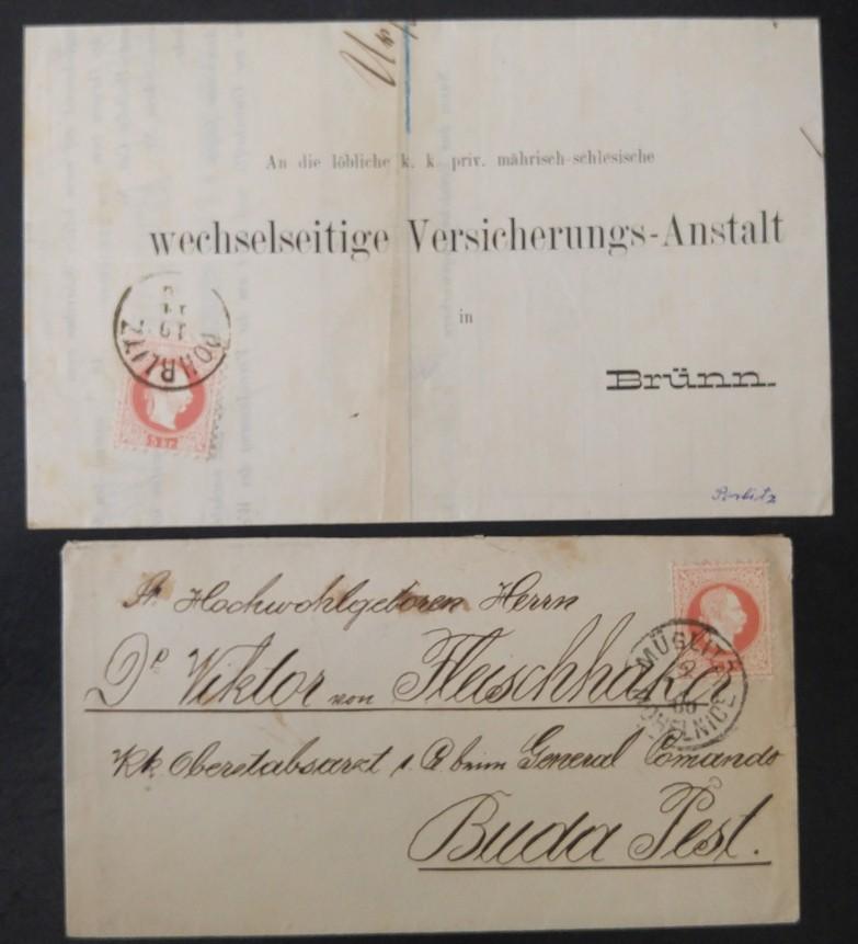 187. 2 Briefe mit je 5kr, von MÜGLITZ nach BUDAPEST, von POHRLITZ nach BRÜNN. - Eberau, Österreich - 187. 2 Briefe mit je 5kr, von MÜGLITZ nach BUDAPEST, von POHRLITZ nach BRÜNN. - Eberau, Österreich