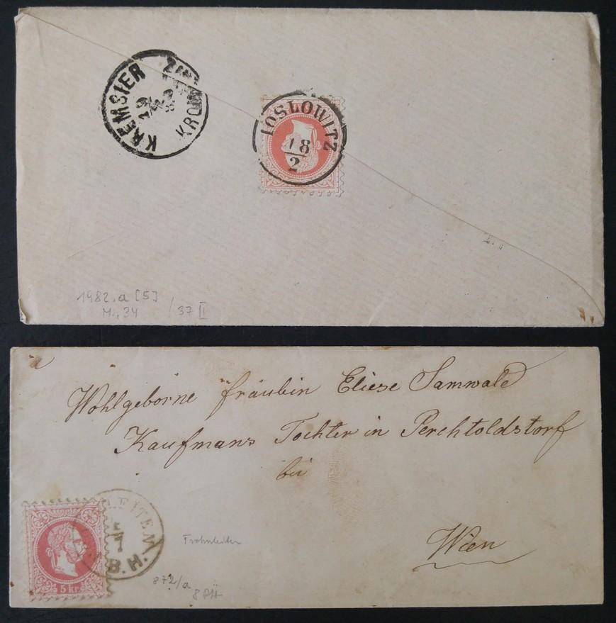 187. 2Briefe:-von IOSLOWITZ nach KREMSIER und von FROHNLEITEN/B.H. nach WIEN. - Eberau, Österreich - 187. 2Briefe:-von IOSLOWITZ nach KREMSIER und von FROHNLEITEN/B.H. nach WIEN. - Eberau, Österreich