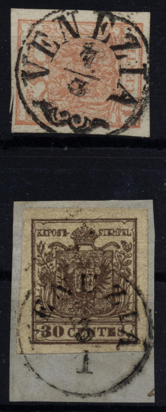 LOMBARDEI-VENETIEN 1850 2Marke: -15C, und -30C, Verschiedene VENEZIA Stempeln.