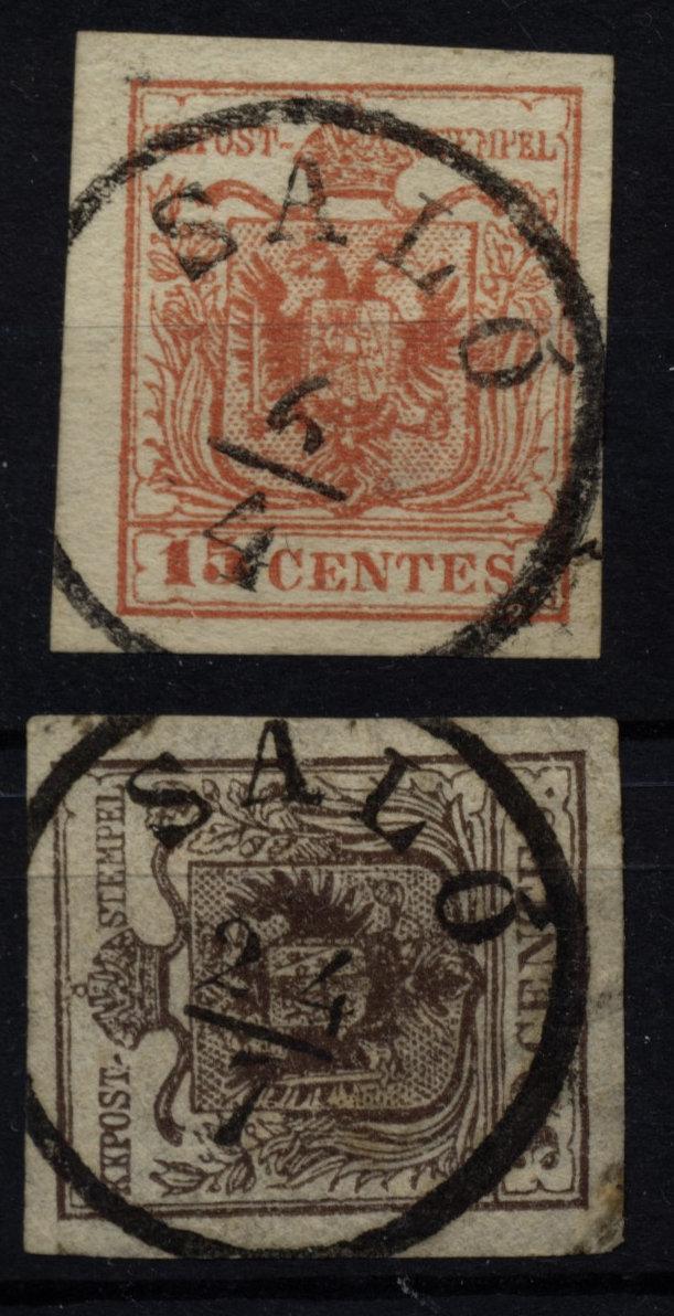 LOMBARDEI-VENETIEN-1850-2Marke-15C-und-30C-SALo