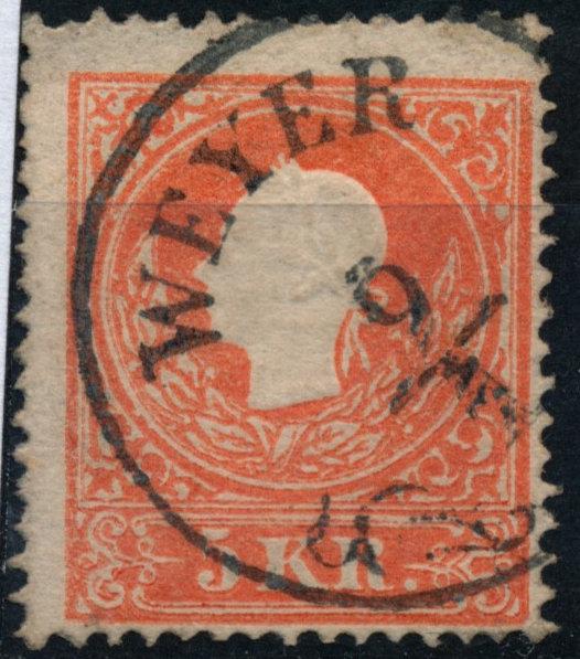 Österreich 1858 5kr, Type II. WEYER (Oö) Mü:30P! - Eberau, Österreich - Money back. - Eberau, Österreich