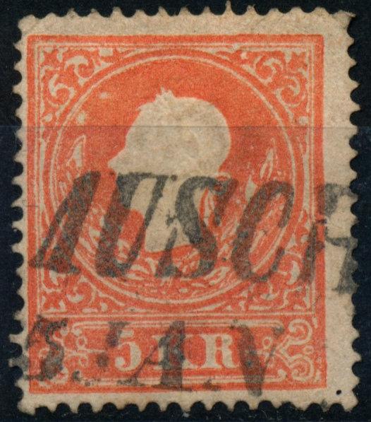 Österreich 1858 5kr, Type II. AUSCHA (B) - Eberau, Österreich - Money back. - Eberau, Österreich
