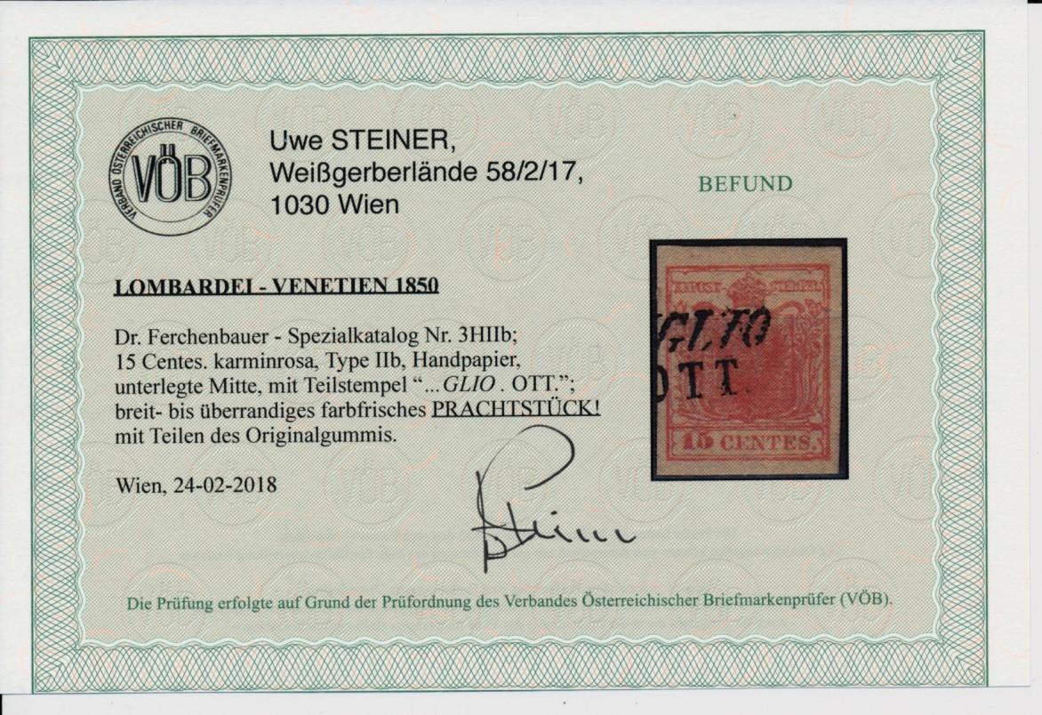 LOMBARDEI-VENETIEN 1850 15C KARMINROSA, HP, Type II.b, VÖB! PRACHTSTÜCK!