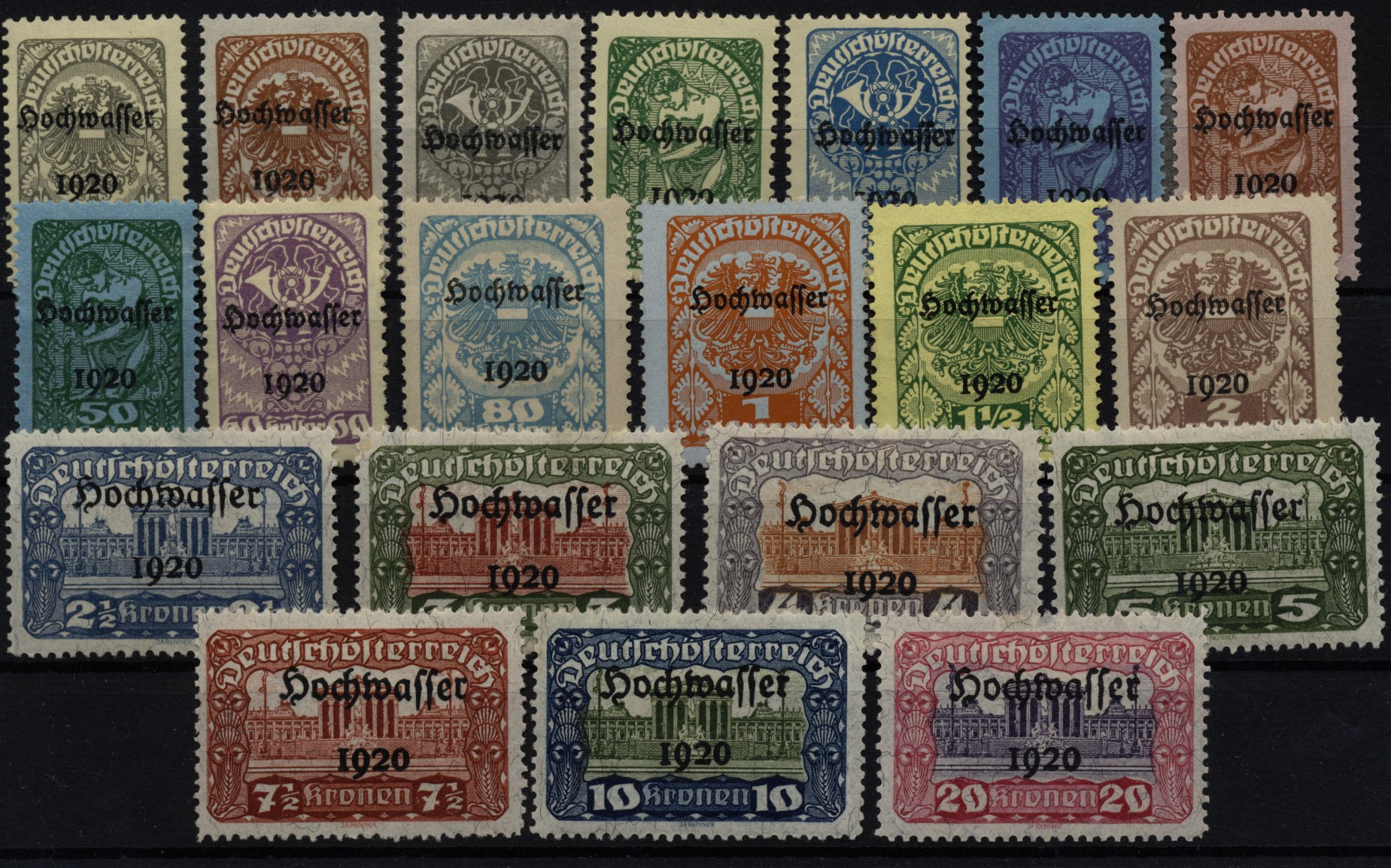 1921 ANK 340-359, HOCHWASSER, Satz, ungebraucht * - <span itemprop=availableAtOrFrom>Eberau, Österreich</span> - 1921 ANK 340-359, HOCHWASSER, Satz, ungebraucht * - Eberau, Österreich