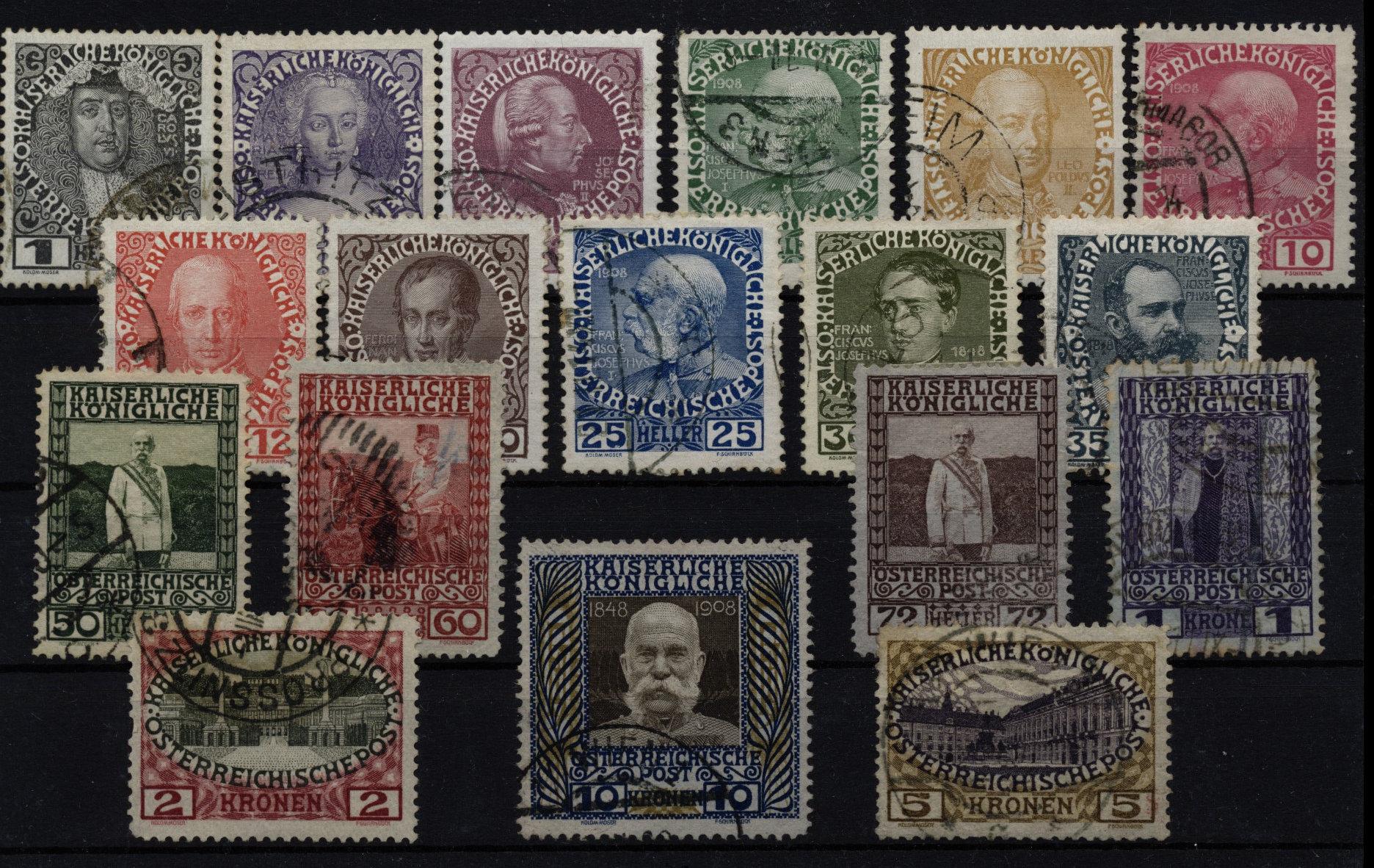 1908 ANK 139-156, JUBILÄUMSAUSGABE, Satz, gestempelt, Kw:120,-€ - <span itemprop='availableAtOrFrom'>Eberau, Österreich</span> - 1908 ANK 139-156, JUBILÄUMSAUSGABE, Satz, gestempelt, Kw:120,-€ - Eberau, Österreich