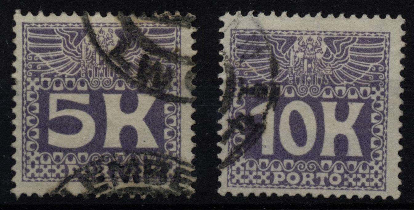 1911 PORTO ANK 45-46, ÄNLICHE ZEICHUNG, Satz, gestempelt, Kw:25,-€ - <span itemprop='availableAtOrFrom'>Eberau, Österreich</span> - 1911 PORTO ANK 45-46, ÄNLICHE ZEICHUNG, Satz, gestempelt, Kw:25,-€ - Eberau, Österreich