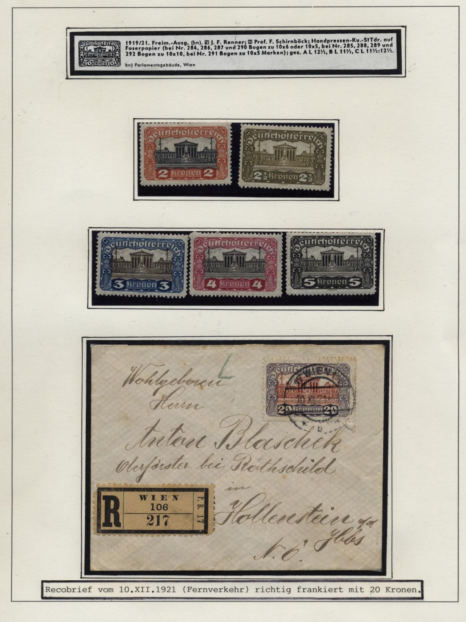 österreich 1921 20k Reko Brief Wien Nach Hollenstein Ebay